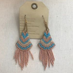 Pink and blue beaded earrings from Anthropologie